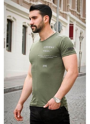 Madmext  Baskılı  Tişört 3033 Haki